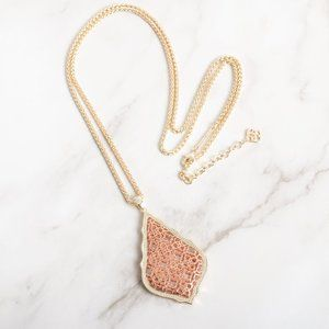 Aiden Gold Long Necklace Rose Gold Filigree Mix